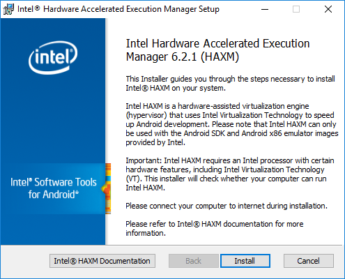 Installing HAXM on Windows