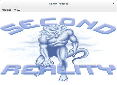 Screenshot: QEMU running Second Reality, a well-known PC demo from 1993, inside the FreeDOS operating system.
